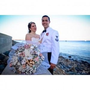 Brooch wedding bridal bouquet with the bride wearing a lovelyhellip