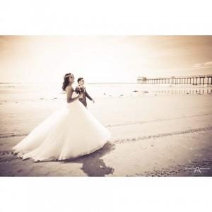 Bride with princess wedding dress walking with groom on Lahellip
