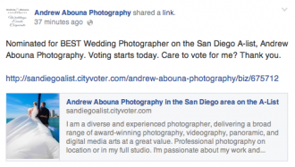 Nominated for Best Wedding Photographer San Diego - San Diego Wedding Photographers Andrew Abouna