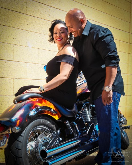 Malika and Rob's Motorcycle and Engagement Photos at the Lafayette Hotel by San Diego Wedding Photographer Andrew Abouna