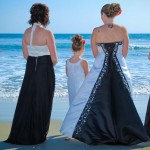 Black white wedding dress black bridesmaid dress by San Diego Wedding Photographer Andrew Abouna