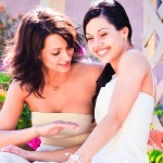 Bride and Bridesmaid in Garden by San Diego Wedding Photographers Andrew Abouna--2