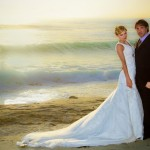 Bride and Groom_long wedding dress_sunset beach_San Diego Wedding Photographer Andrew Abouna