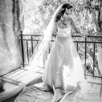 Bride in strapless wedding dress with long train and long veil by Wedding Photographer San Diego Andrew Abouna-2