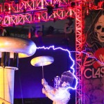 Dr Mega Volt with high voltage bolts of electricity with his tesla coil at the VH1 Classic Dawn of the Con at Comic-Con by Event Photographer San Diego Andrew Abouna-
