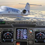 Gulfstream III cockpit with overlay of Learjet flying above clouds by San Diego Commercial Photographer Andrew Abouna-