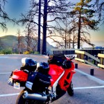 Honda VFR 1994 with bags and helmets Laguna Mountains by San Diego Photographer Andrew Abouna