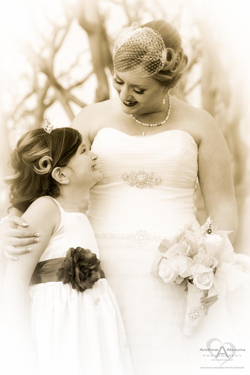 Nostalgic bride with updo hairstyle and hair net and wedding dress ...