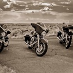 Three Harley Davidson FLH motorcycles in the Arizona desert by San Diego Photographer Andrew Abouna-1