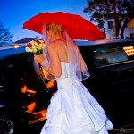 Wedding Dress and Red Umbrella and Rain by San Diego Wedding Photographer Andrew Abouna-