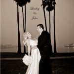 Wedding album cover for bride and groom in black and white at night with foggy bay and palms by San Diego Wedding Photographer Andrew Abouna