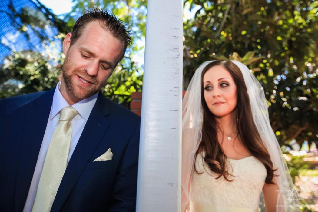 Monica and Ricky La Jolla Backyard Wedding First Look by San Diego Wedding Photographer Andrew Abouna
