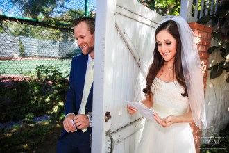 Monica and Ricky La Jolla Backyard Wedding First Look by San Diego Wedding Photographer Andrew Abouna