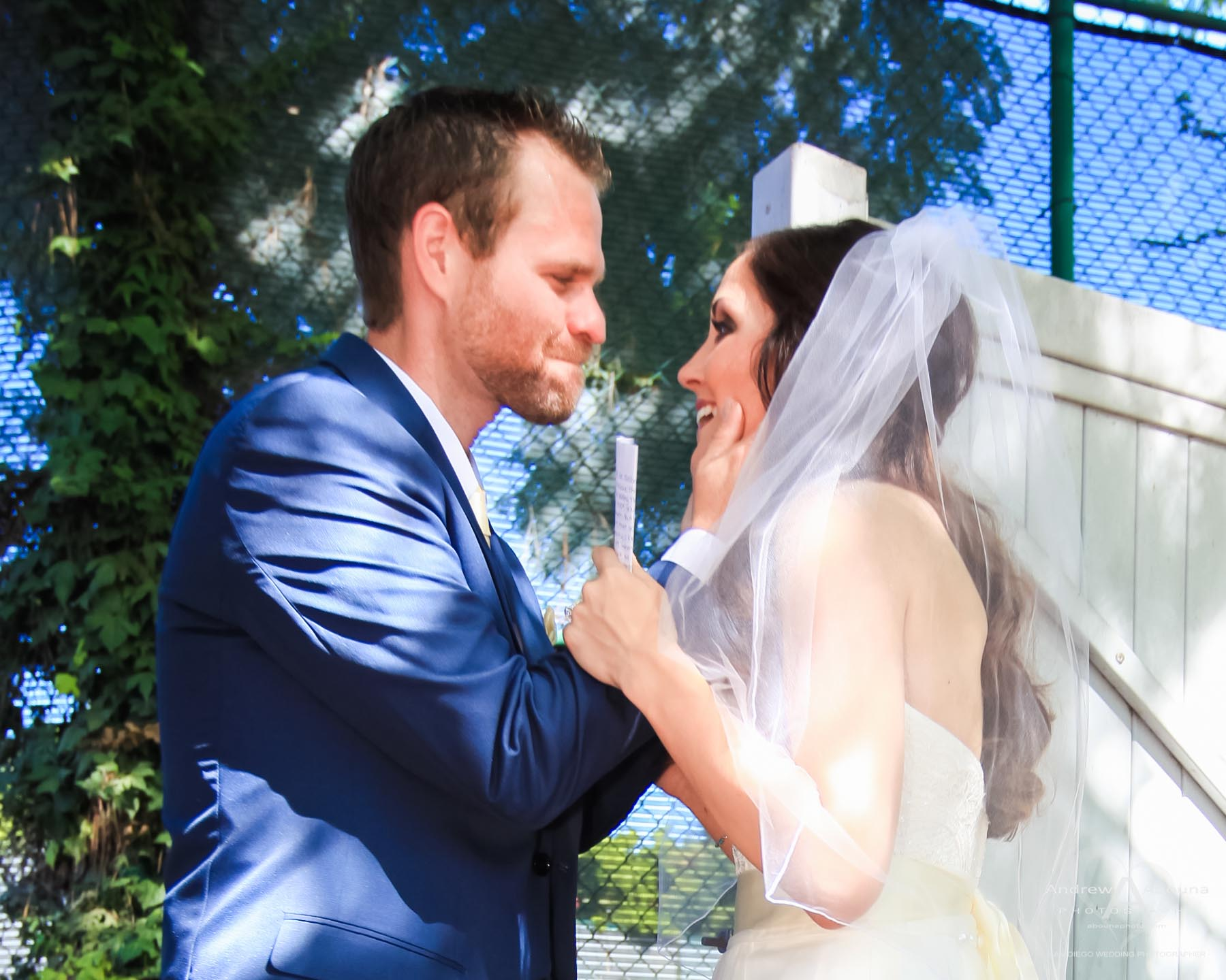 monica and ricky la jolla backyard wedding first look by san diego