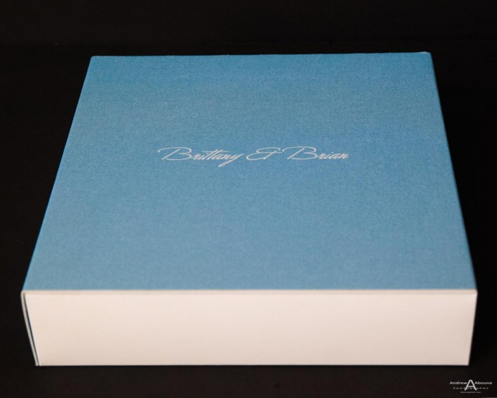 Brittany and Brian square leather die cut wedding book with suede spine by top wedding photographers of San Diego Andrew Abouna