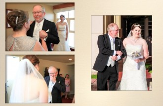 Father of the bride as he sees his daughter for the first time, and walks her down the aisle