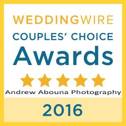 WeddingWire Couples Choice Award of Top Wedding Photographer Andrew Abouna - AbounaPhoto 2