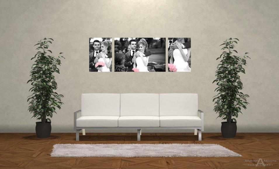 Wedding Photo Print Ideas Wall Display Mockup by San Diego Photographer Andrew Abouna 1bw